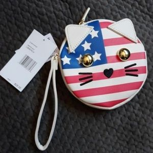 NEW BETSY JOHNSON SMALL CAT CLUTCH COIN PURSE